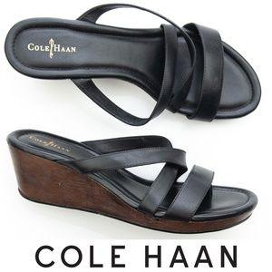 Cole Haan Air Suzette Wedge Sandal 10 Black